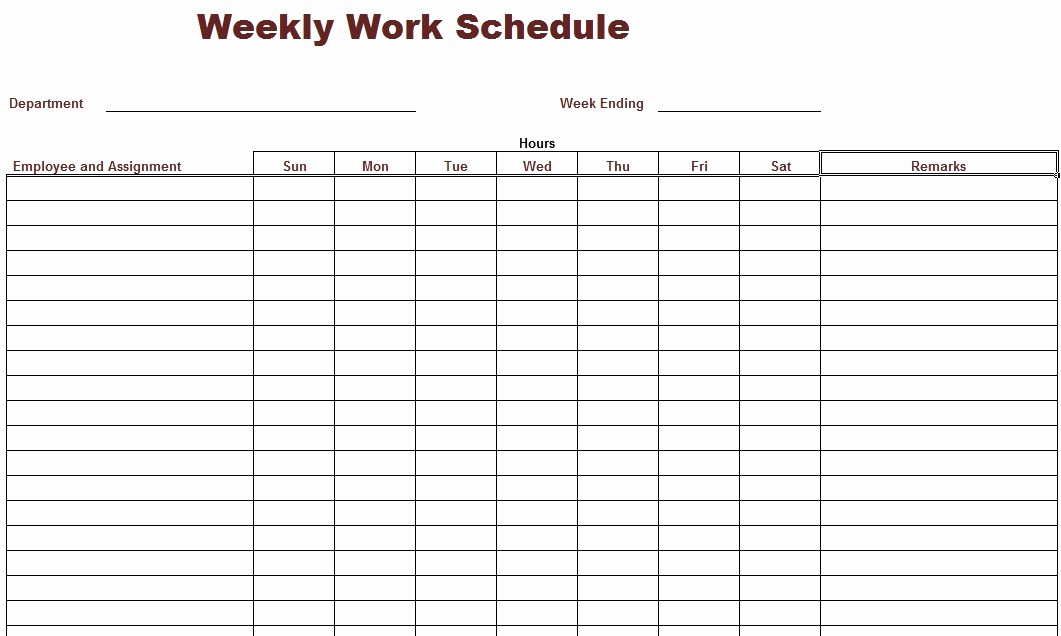 Free Weekly Work Schedule Template Luxury 8 Best Of Printable Weekly Work Schedule Blank