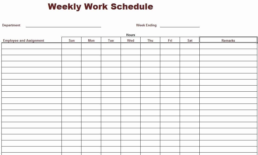 Free Weekly Work Schedule Template Luxury 8 Best Of Printable Weekly Work Schedule Blank