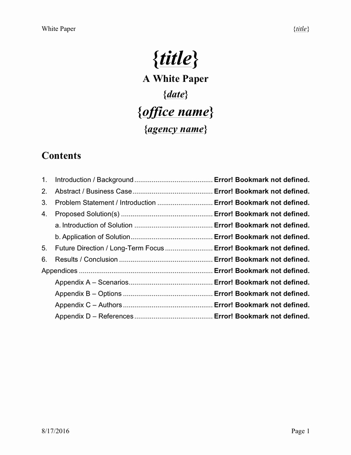 Free White Paper Template Word Awesome White Paper Template Free Documents for Pdf