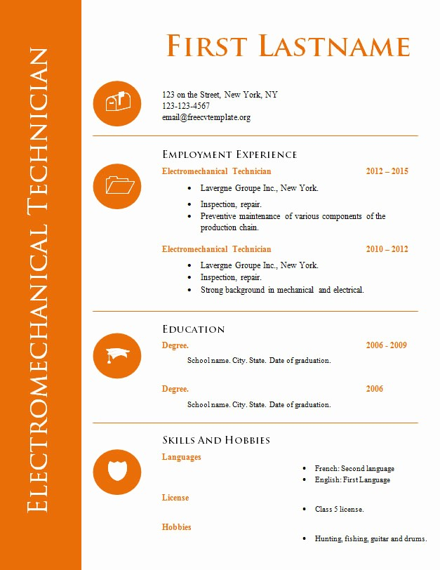 Free Word Document Templates Download Luxury Free Cv Template for Technician 575 to 582 – Free Cv