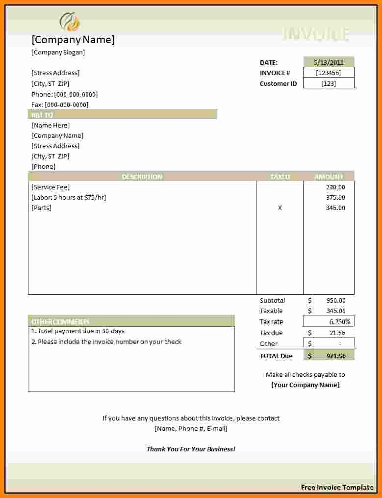 Free Word Document Templates Download Unique 7 Invoice Template Word Document Free