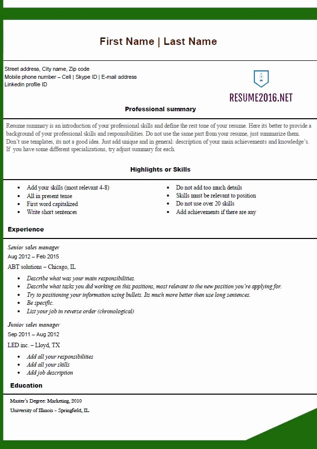 Free Word Resume Templates 2016 Inspirational Free Resume Templates 2016