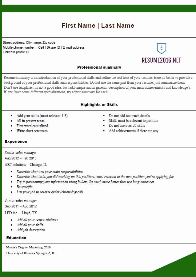 Free Word Resume Templates 2016 Inspirational Free Resume Templates 2016