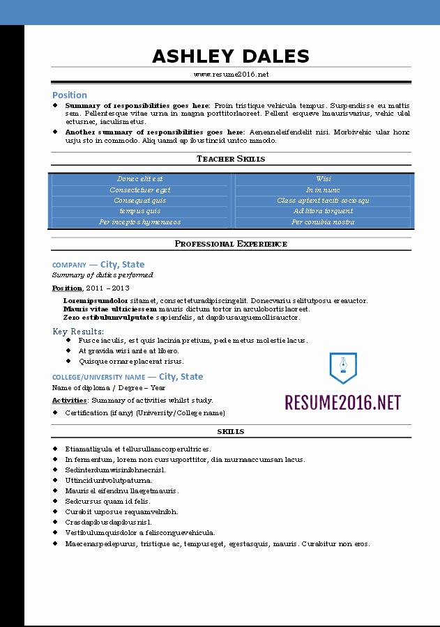 Free Word Resume Templates 2016 Inspirational Word Resume Templates 2016