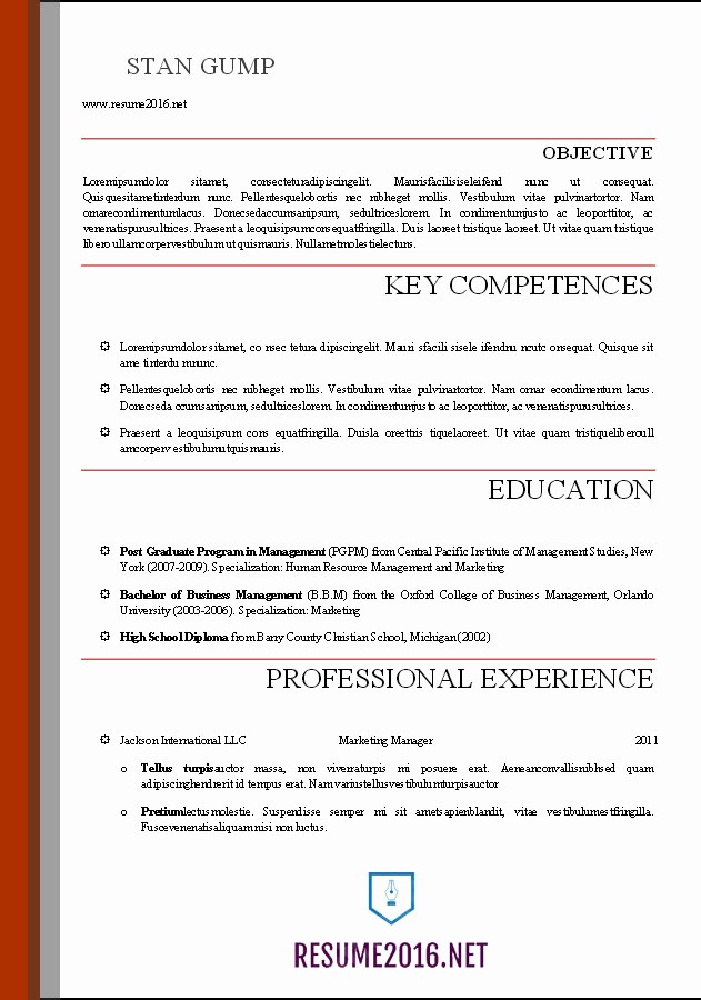 Free Word Resume Templates 2016 Lovely Word Resume Templates 2016