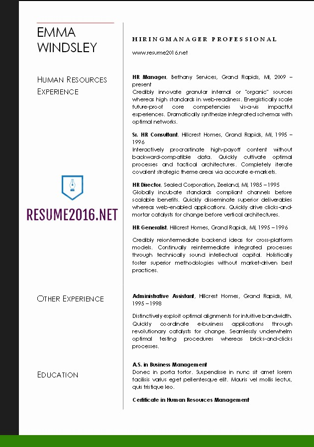 Free Word Resume Templates 2016 New Word Resume Templates 2016