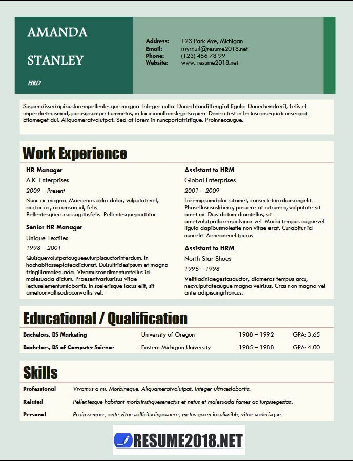 Free Word Resume Templates 2018 Awesome Resume format 2018 20 Free to Word Templates