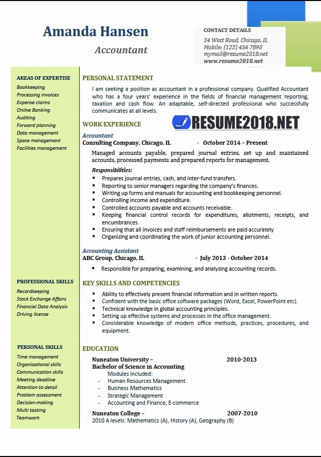 Free Word Resume Templates 2018 Beautiful Accountant Resume Examples 2018 Resume 2018