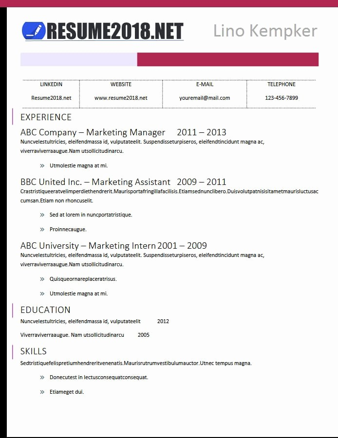 Free Word Resume Templates 2018 Beautiful Latest Resume Templates 2018
