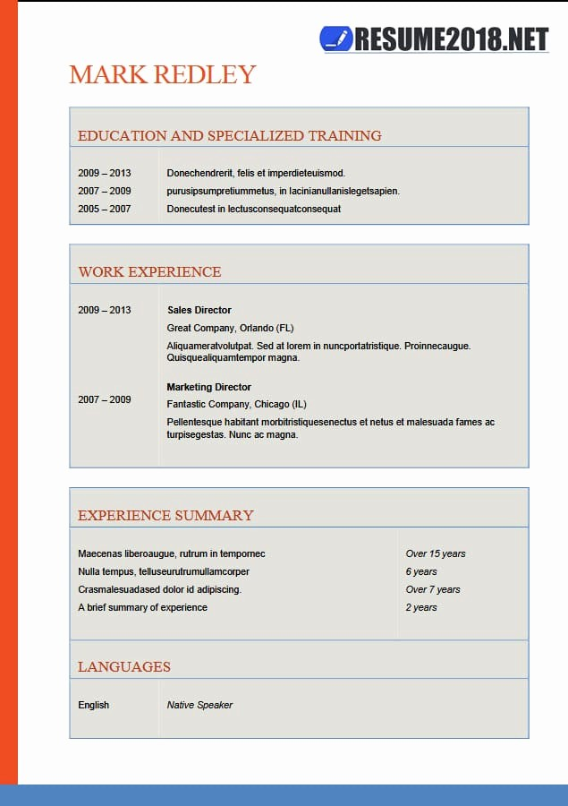 Free Word Resume Templates 2018 New Resume format 2018 20 Free to Word Templates