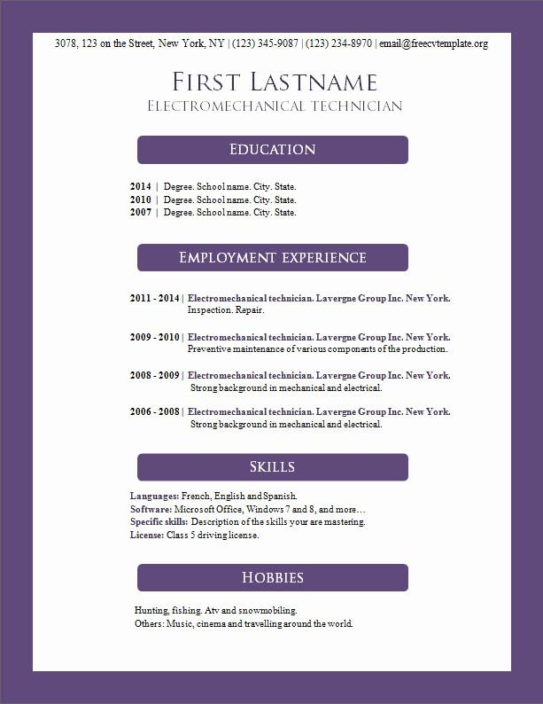 Free Word Resume Templates Download Beautiful Free Cv Templates 156 to 162 – Free Cv Template Dot org