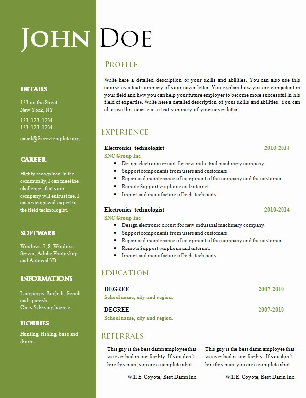 Free Word Resume Templates Download Inspirational Free Curriculum