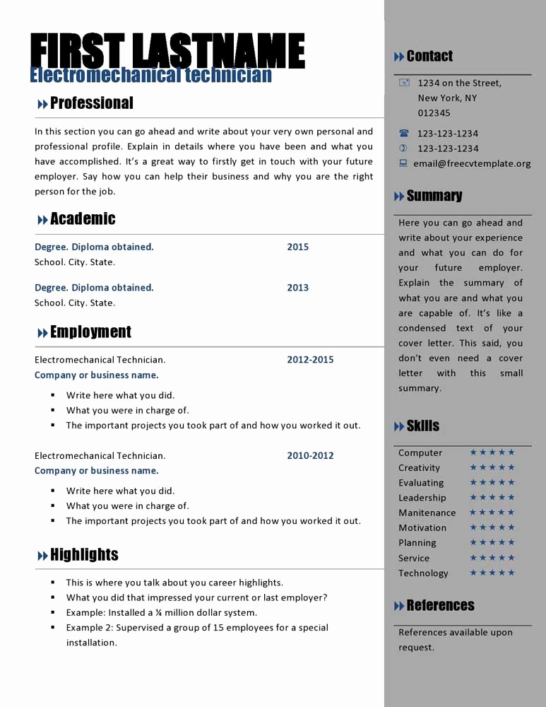 Free Word Resume Templates Download Inspirational Free Curriculum Vitae Templates 466 to 472 – Free Cv