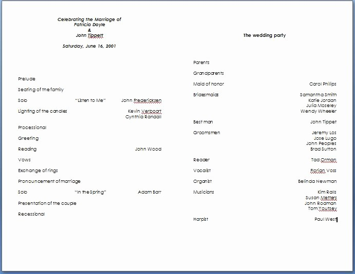 Free Word Wedding Program Template Awesome Wedding Program Template Word