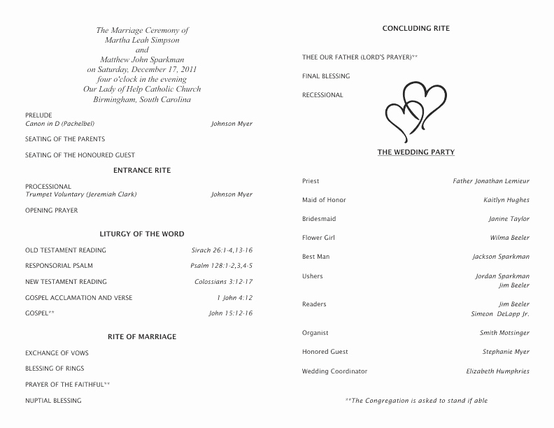 Free Word Wedding Program Template Elegant Catholic Wedding Program Template 5