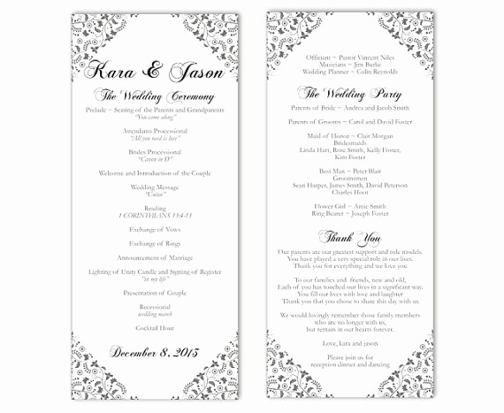 Free Word Wedding Program Template Elegant Wedding Program Template Diy Editable Word File Instant
