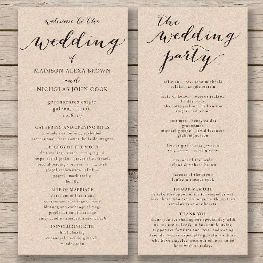 Free Word Wedding Program Template Elegant Wedding Program Template Printable Wedding Program Diy