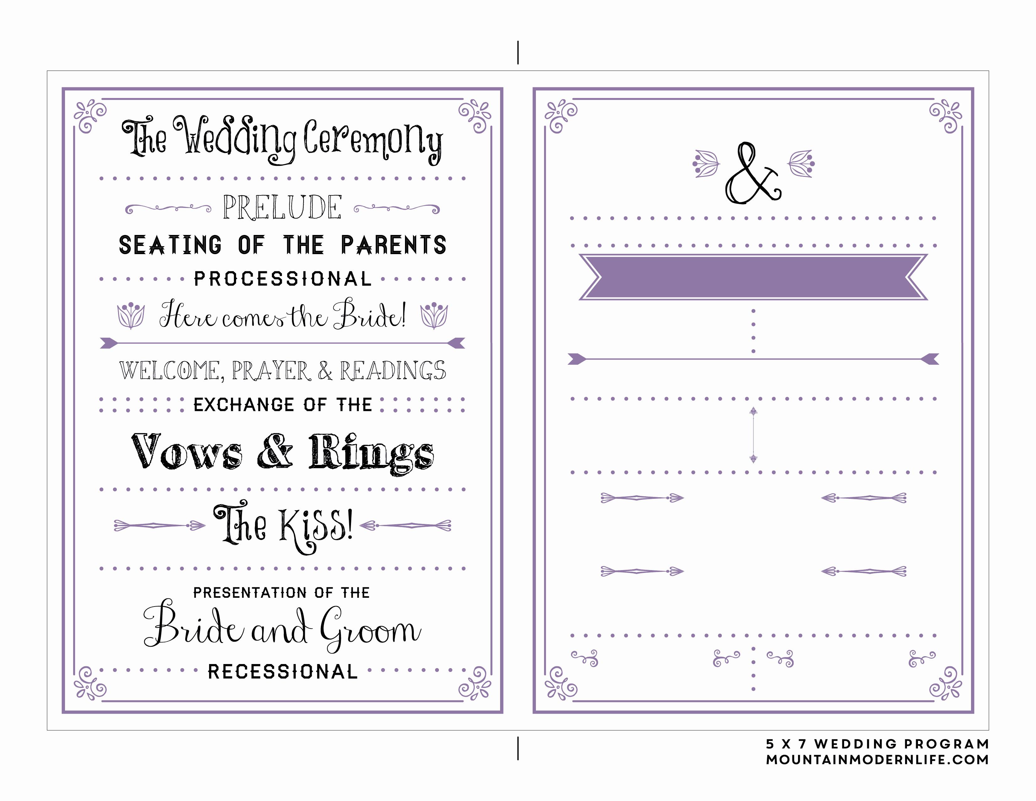 Free Word Wedding Program Template Fresh Free Printable Wedding Program