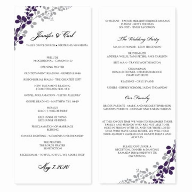 Free Word Wedding Program Template Lovely Template for Wedding Programs