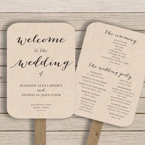 Free Word Wedding Program Template Luxury Wedding Program Fan Template Printable by Hopestreetprintables