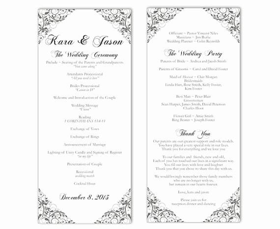 Free Word Wedding Program Template Luxury Wedding Program Template Diy Editable Text Word File