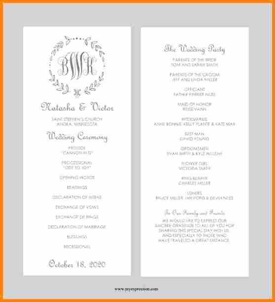 Free Word Wedding Program Template New 8 Free Printable Wedding Program Templates Word