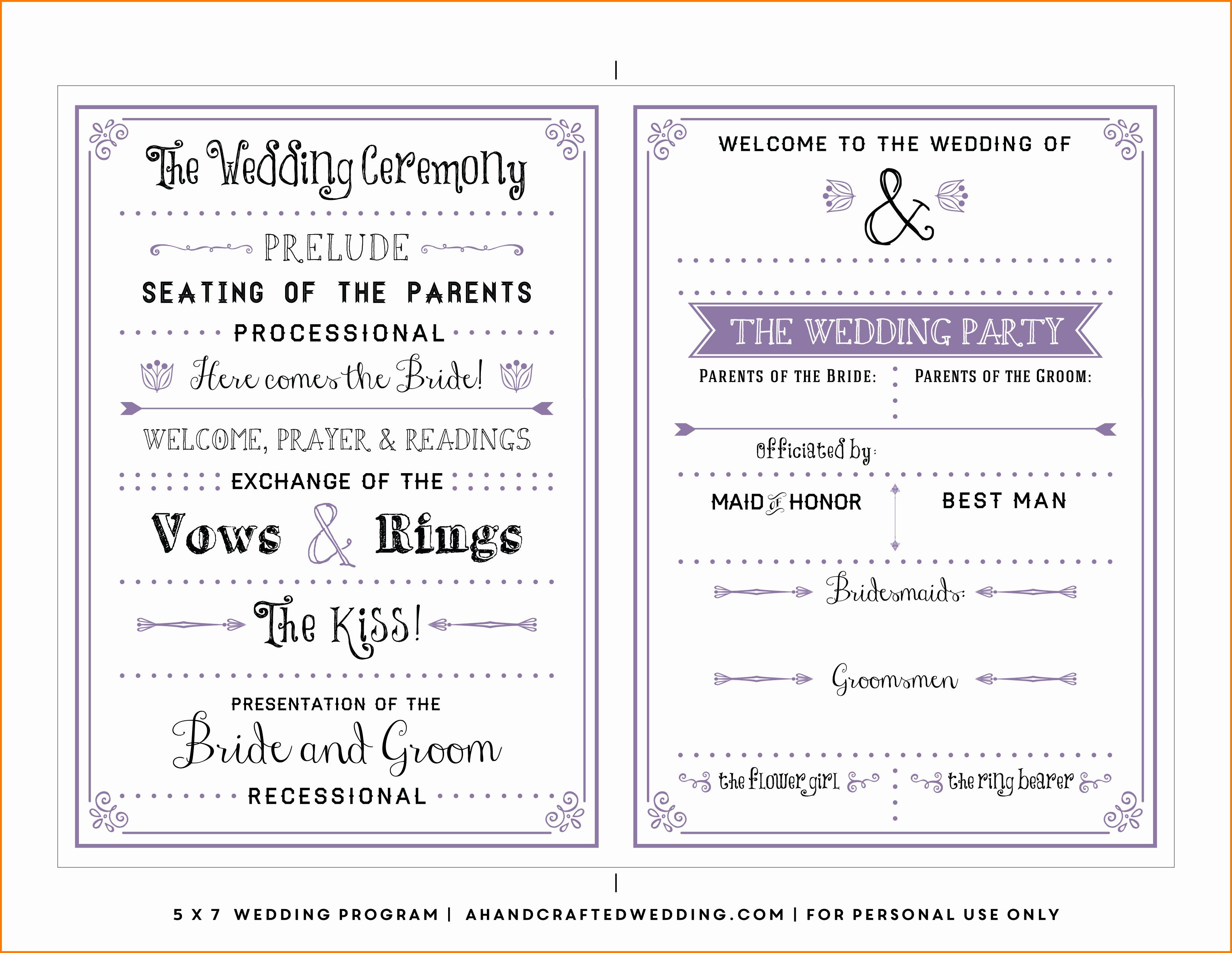 Free Word Wedding Program Template New Free Wedding Program Templates
