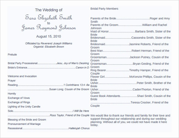 Free Word Wedding Program Template New Wedding Program Template 41 Free Word Pdf Psd