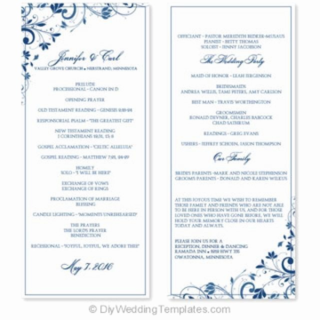 Free Word Wedding Program Template New Wedding Program Template Instant Download Edit