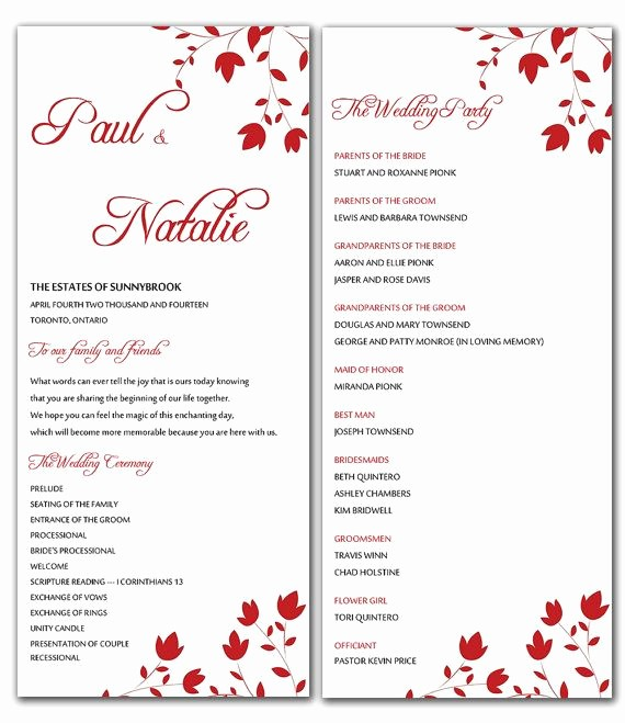 Free Word Wedding Program Template Unique Diy Red Wild Flowers Wedding Program Microsoft Word