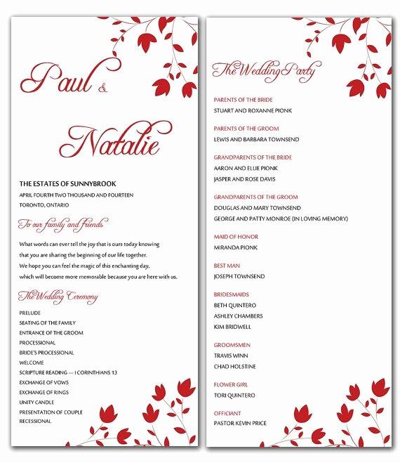 Free Word Wedding Program Template Unique Diy Red Wild Flowers Wedding Program Microsoft Word