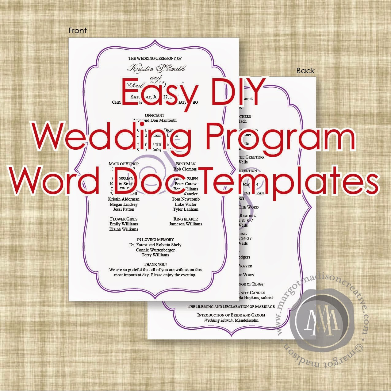 Free Word Wedding Program Template Unique Margotmadison Diy Wedding Program Word Doc Templates now