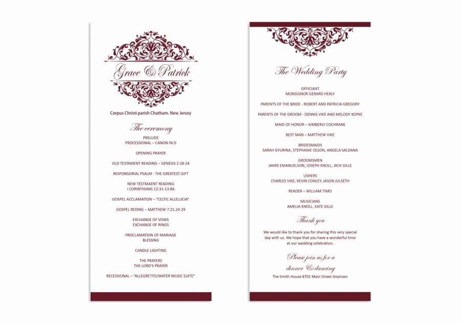 Free Word Wedding Program Template Unique Wedding Program Template Printable Wedding Program