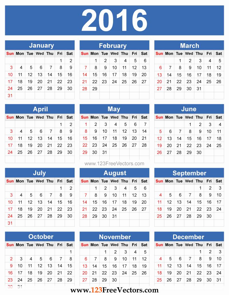 Free Year Calendar Template 2016 Awesome 2016 Calendar Vector