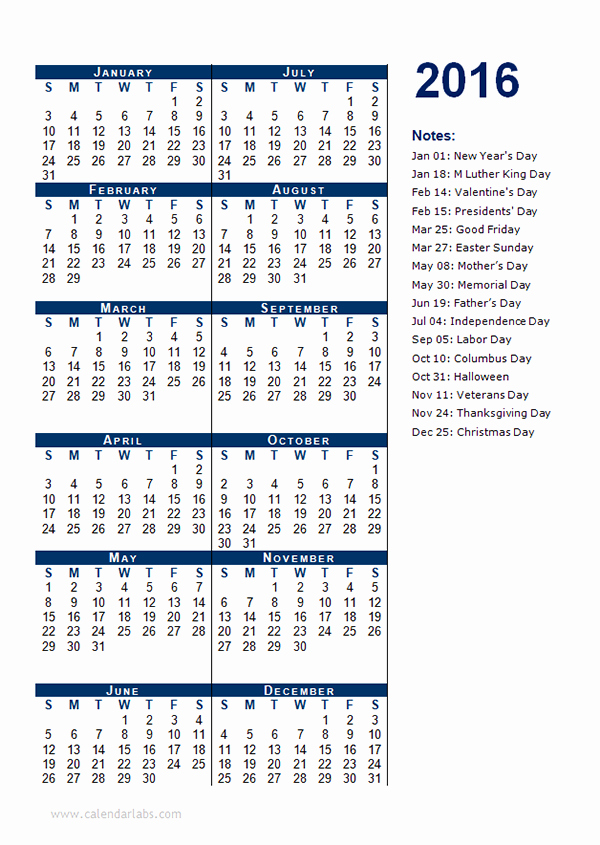 Free Year Calendar Template 2016 Awesome 2016 Yearly Calendar Template 12p Free Printable Templates