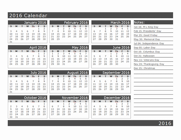 Free Year Calendar Template 2016 Awesome 2016 Yearly Calendar Template 16l Free Printable Templates