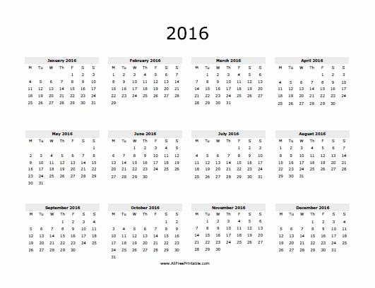 Free Year Calendar Template 2016 Best Of 2016 Yearly Calendar