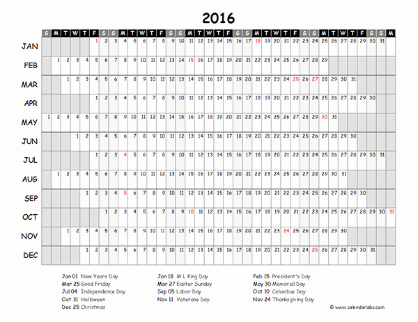 Free Year Calendar Template 2016 Fresh 2016 Excel Yearly Calendar 03 Free Printable Templates