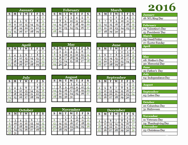 Free Year Calendar Template 2016 Fresh 2016 Yearly Calendar Template 06 Free Printable Templates