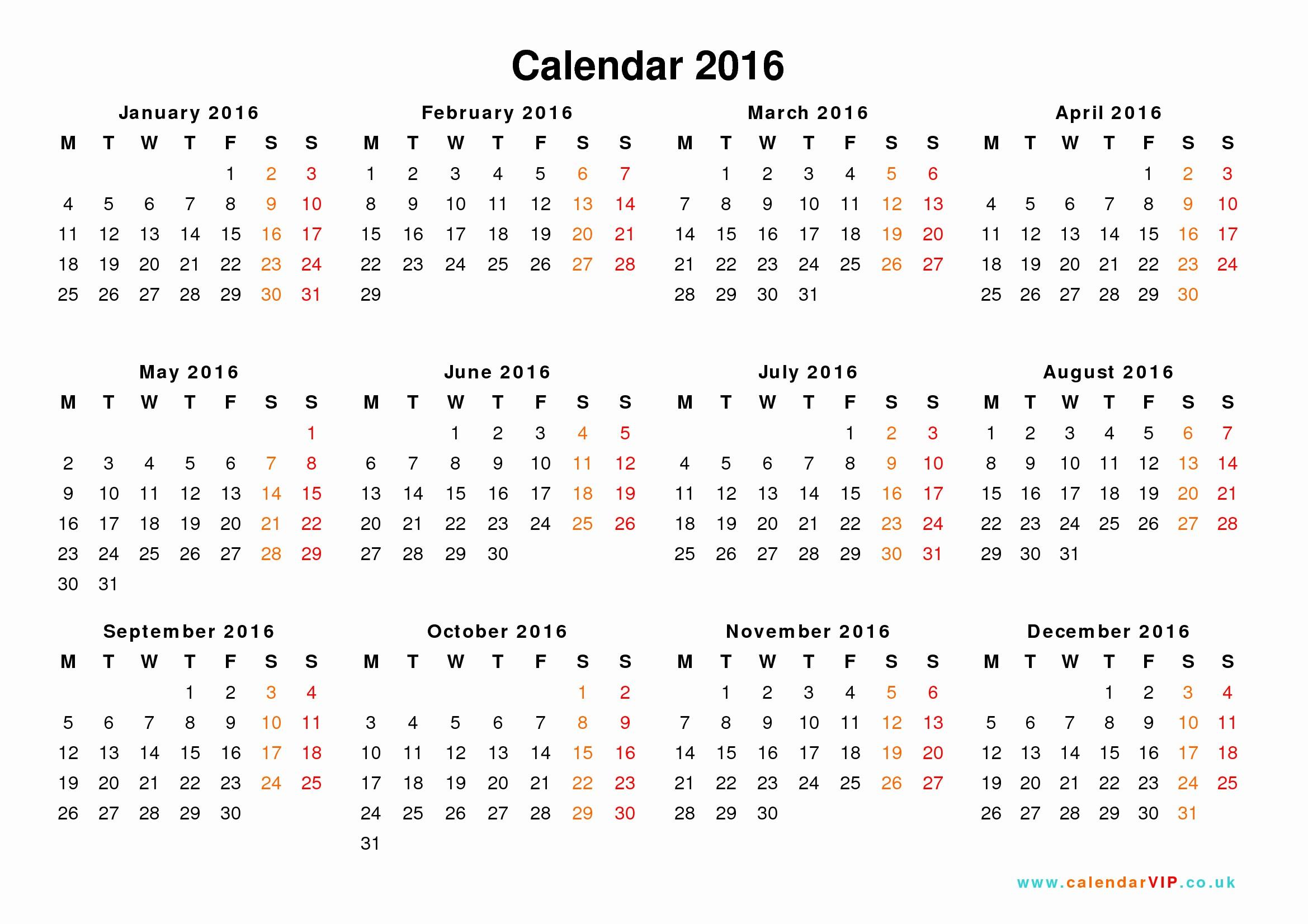 Free Year Calendar Template 2016 Inspirational Calendar 2016 Uk Free Yearly Calendar Templates for Uk