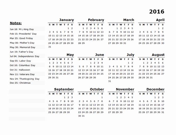 Free Year Calendar Template 2016 Luxury 2016 Yearly Calendar Template 11 Free Printable Templates