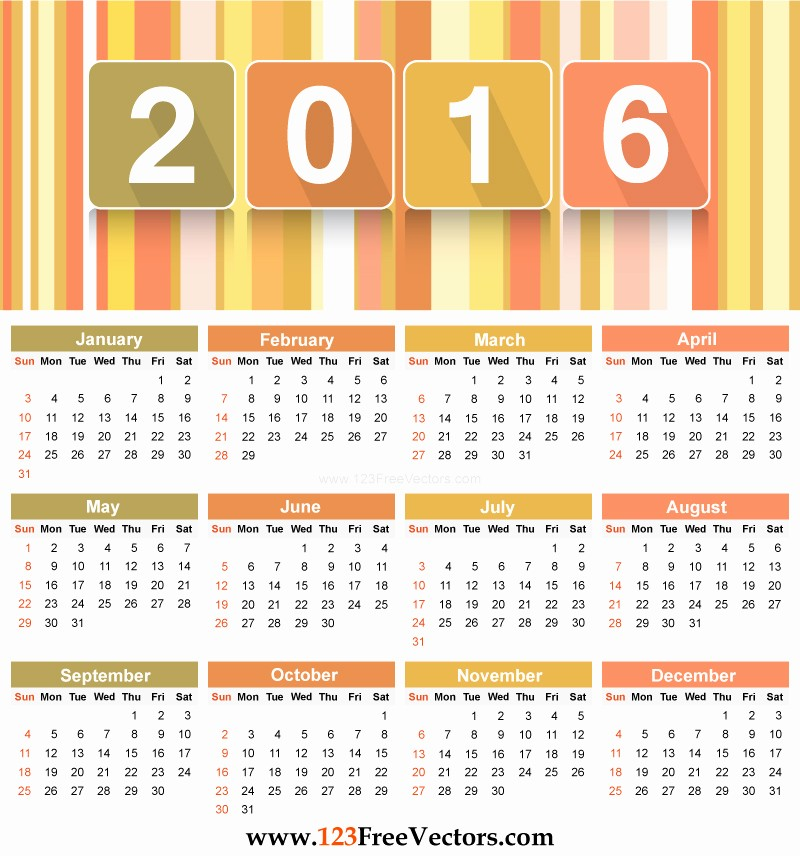 Free Year Calendar Template 2016 Luxury Download 2016 Calendar Template by 123freevectors On