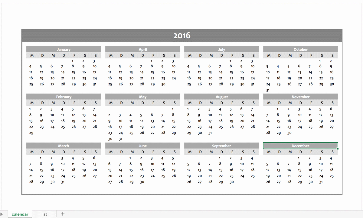 Free Year Calendar Template 2016 New Yearly Calendar 2016 for Free