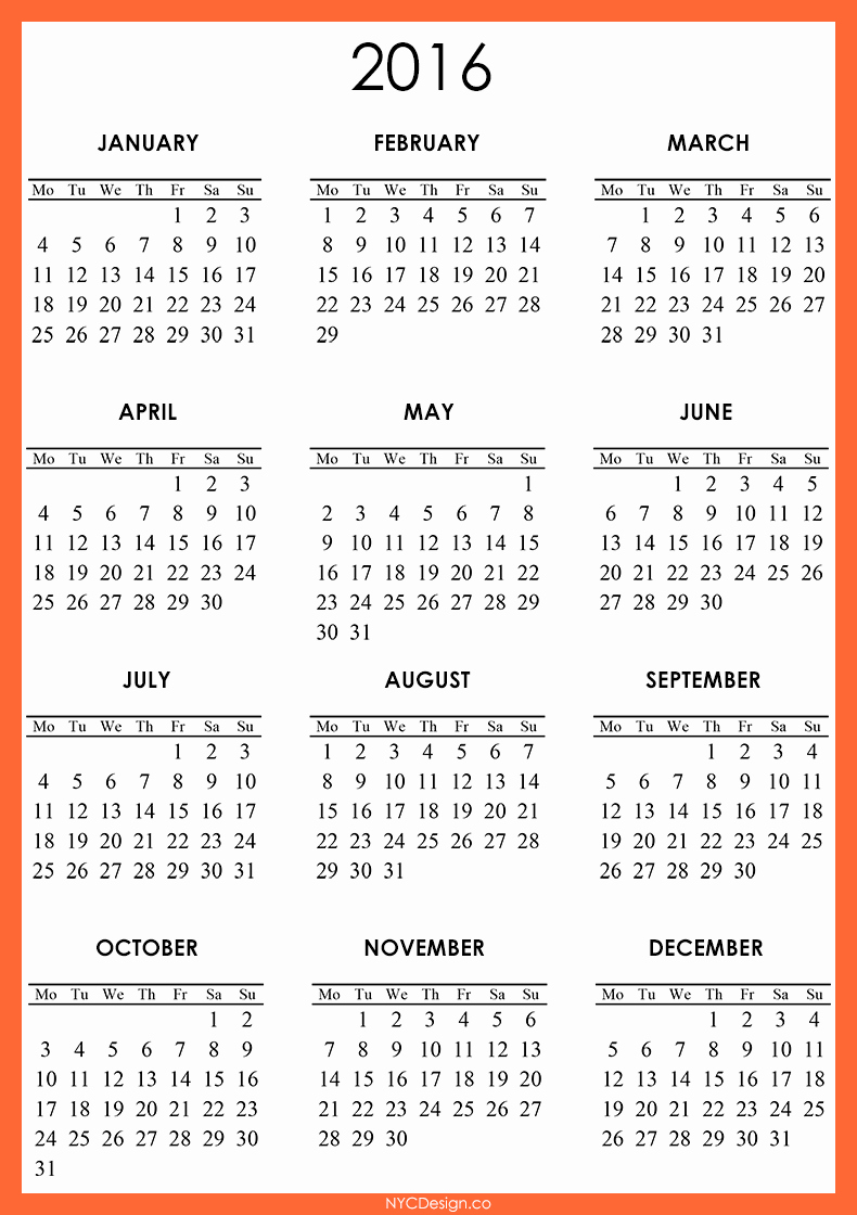 Free Year Calendar Template 2016 Unique 2016 Calendar Free