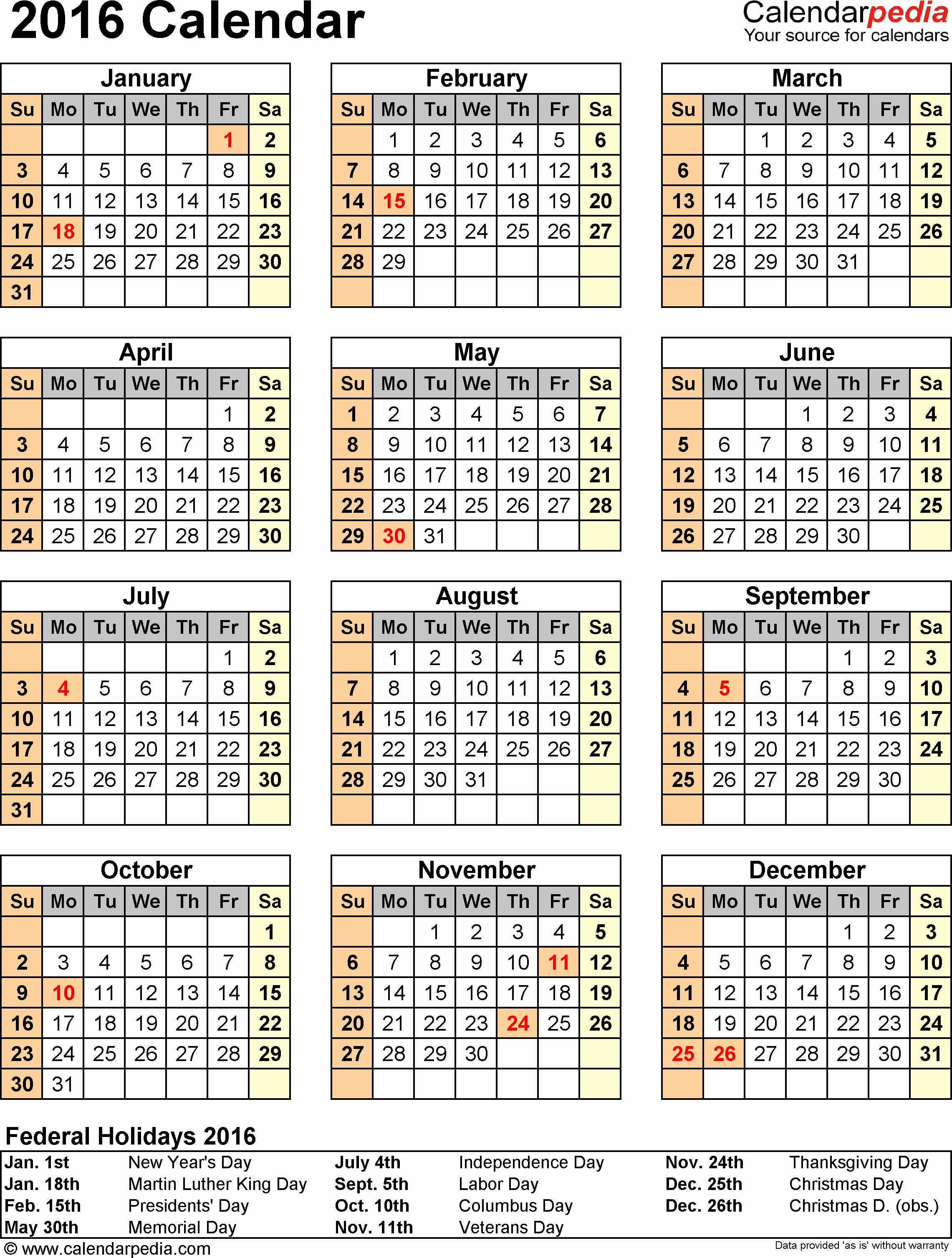 Free Year Calendar Template 2016 Unique 2016 Calendar Pdf 16 Free Printable Calendar Templates