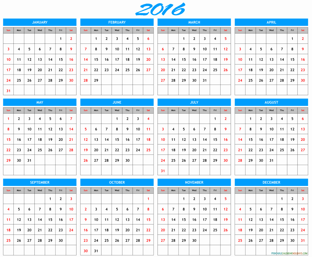 Free Year Calendar Template 2016 Unique 2016 Yearly Calendar Template Archives Free Printable