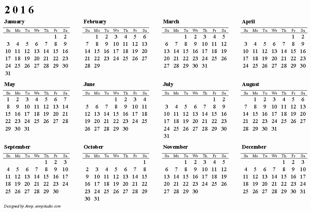 Free Year Calendar Template 2016 Unique Free Printable Calendar 2016 Australia