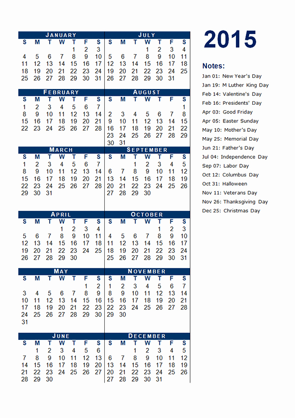 Free Yearly Calendar Templates 2015 Awesome 2015 Yearly Calendar Template 12 Free Printable Templates