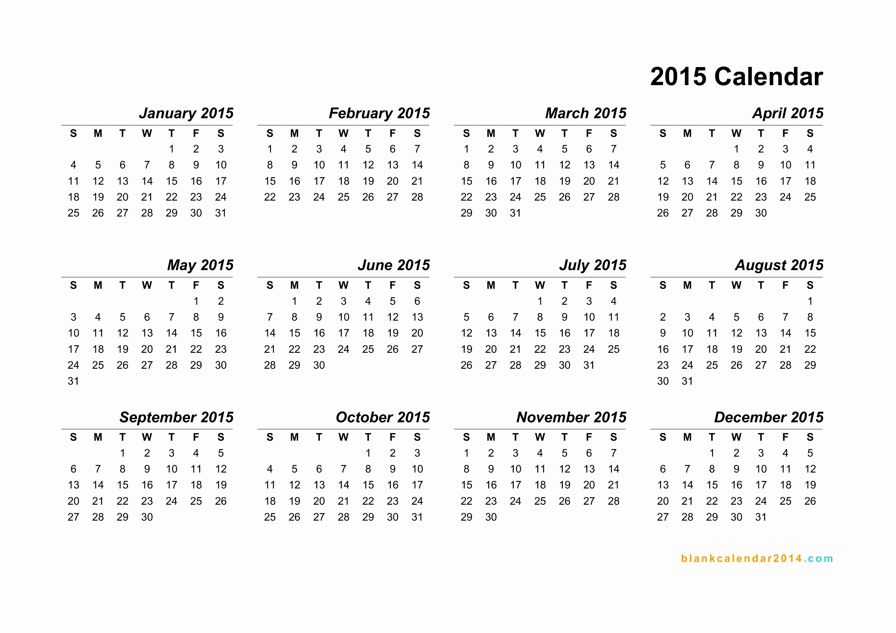 Free Yearly Calendar Templates 2015 Elegant 12 2015 Yearly Calendar Template 2015 Calendar