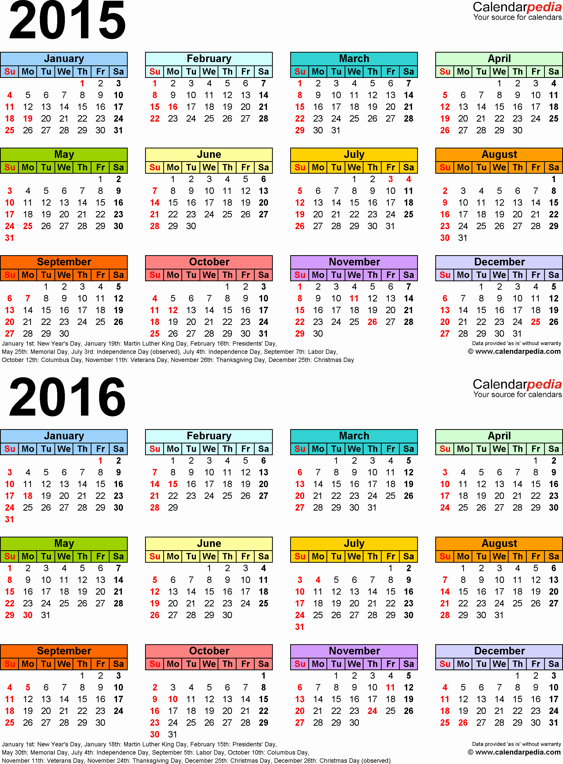 Free Yearly Calendar Templates 2015 Elegant 2015 2016 Calendar Free Printable Two Year Excel Calendars